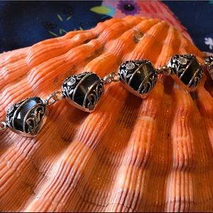 Sterling Silver Black Cats Eye Bracelet